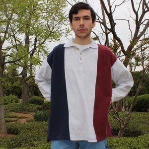 Vintage 90's Long Sleeve Polo in Red and Blue